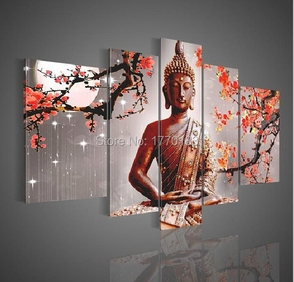Framelessoil Paintings Canvas Colorful Buddha Sitting Wall: Hand Made 5 Panel Sitting Buddha Oil Painting Chinese