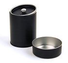 Custom logo black cylinder tin can packaging for tea