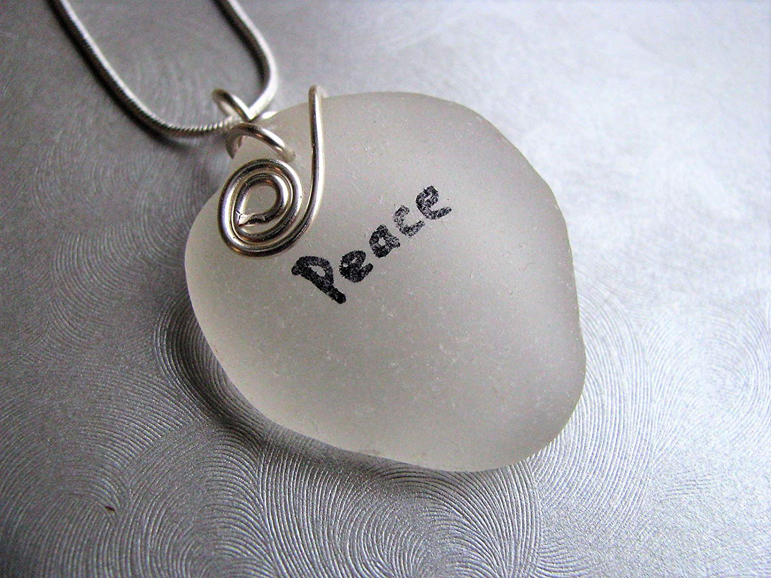 Word Peace on Sea Glass - White Sea Glass - Beach Glass Jewelry - Genuine Sea Glass
