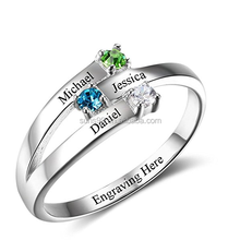 Family Jewelry Personalized Engrave Names Engagement Mother Rings with Simulated Birthstone for Her