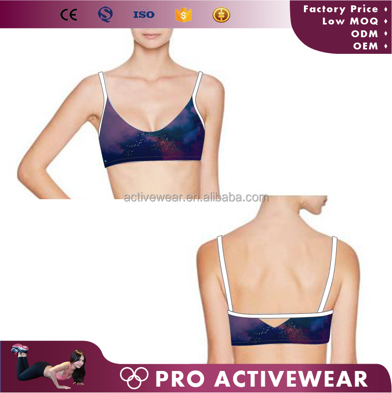 New arrival customized sublimation lycra gym clothes, wholesale removable paded gym wear sports bra