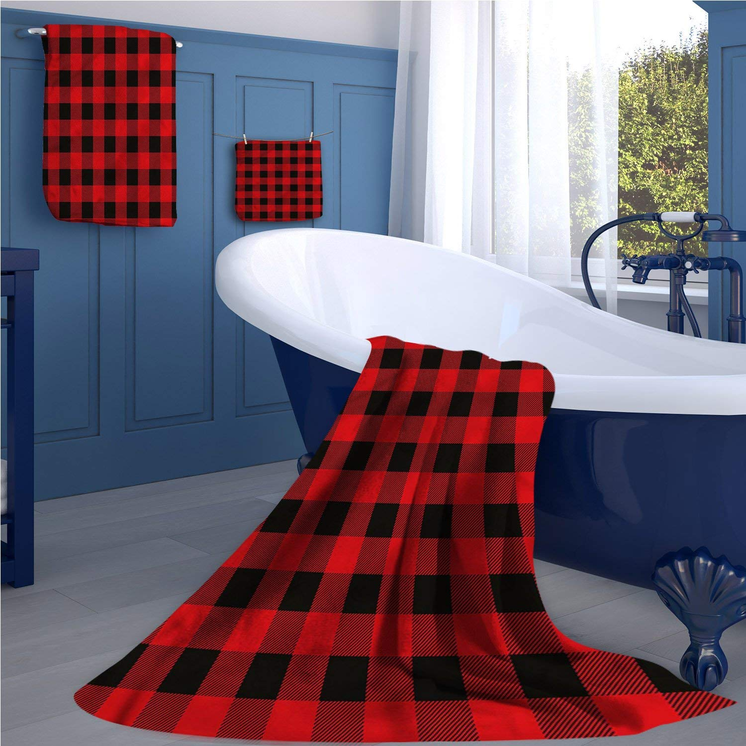 familytaste Plaid Extra wide bathroom accessories Lumberjack Fashion Buffalo Style Checks Pattern Retro Style with Grid Composition luxury hand towels set Scarlet Black