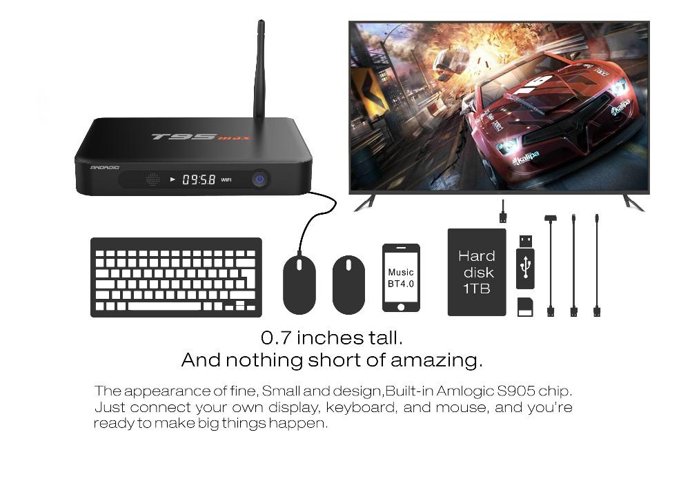T95max android 5 1 free hd video 2016 best smart tv box 2gb 32gb 4k