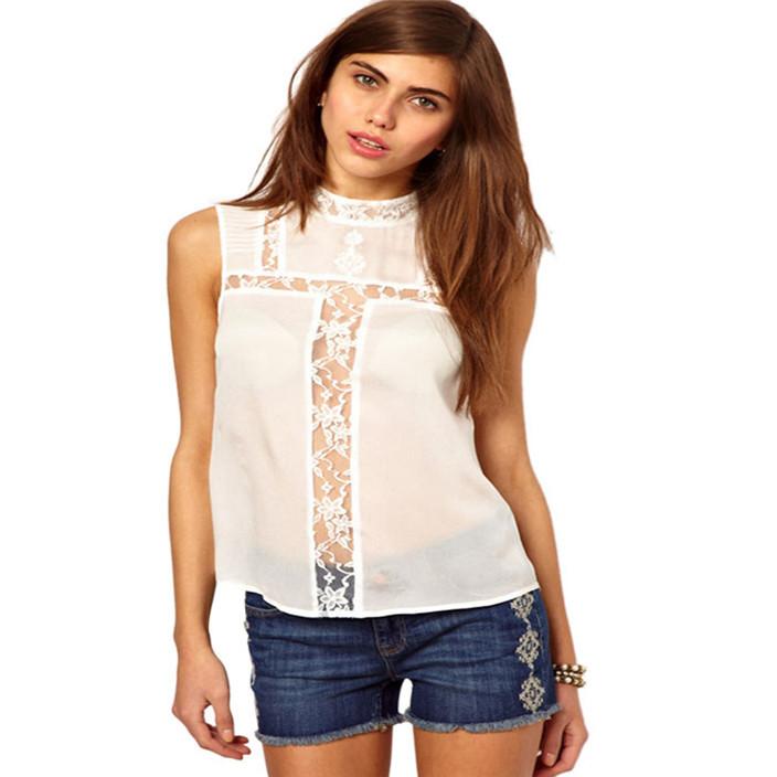 8dbcd7760d36e Get Quotations · 2015 fashion hot Casual Chiffon Femininas Casual Hot Women Lace  Chiffon Top Sleeveless Shirt Casual Hollow Out