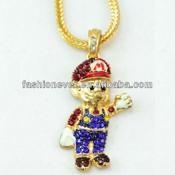 New iced out super mario pendant gold tone 24 chain hip hop new iced out super mario pendant gold tone 24quot chain hip hop necklace aloadofball Images