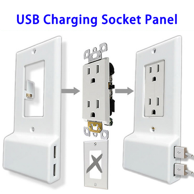 Alibaba Express US Duplex USB Outlet Cover, Decor Wall Plate Cover