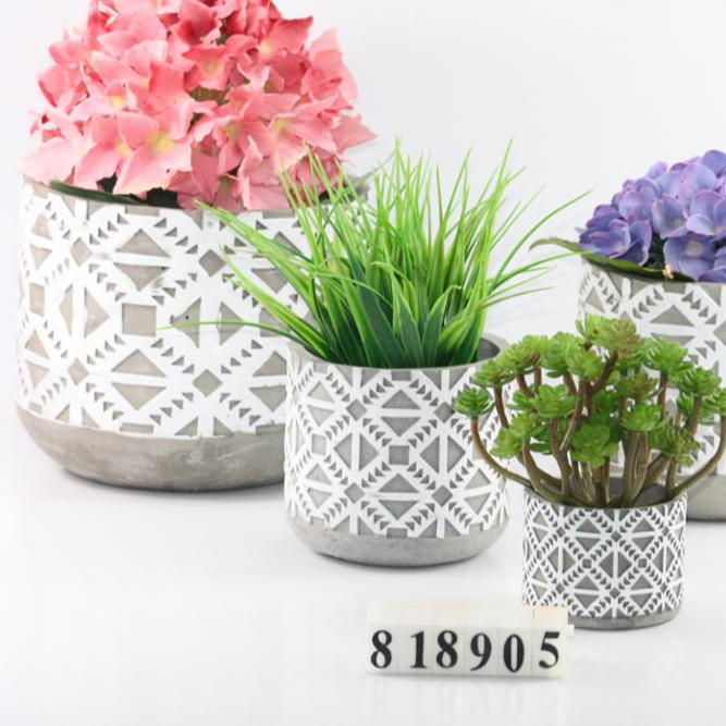 "Geometric Ceramic Planter, 6.5"" H, White and Grey Cement"
