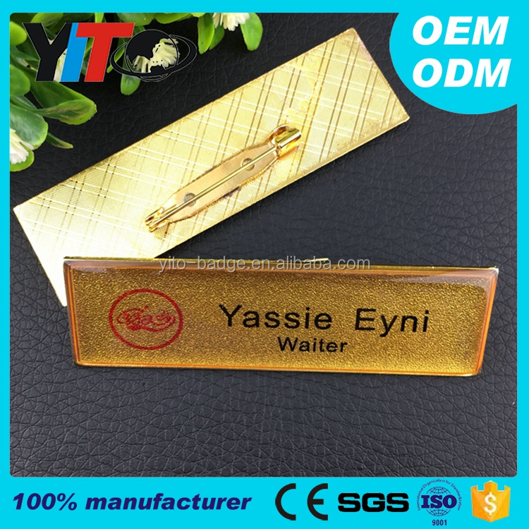 factory custom metal personalized name badge with epoxy face, printed id badge metal name tag with pin