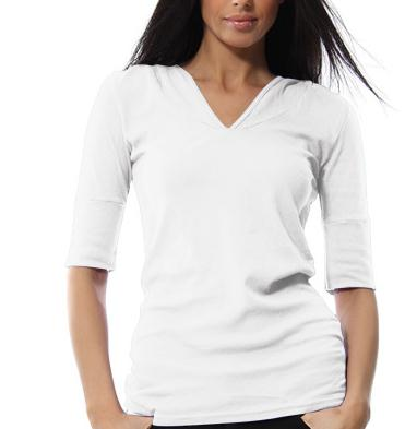 unlabeled white 50 cotton 50 polyester t shirts slim fit women's long sleeve v neck fashion hooded tshirt in bulk