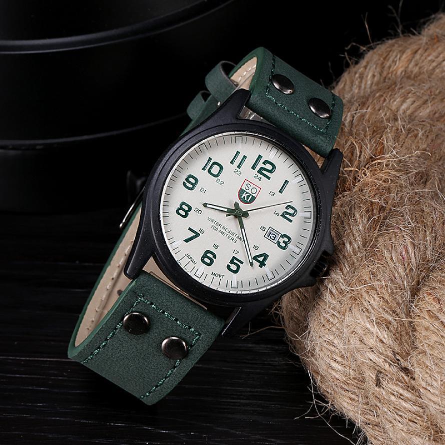Мужчины Wathes винтажный мужчины в водонепроницаемый дата кожа ремень спорт часы кварцевый армейское часы