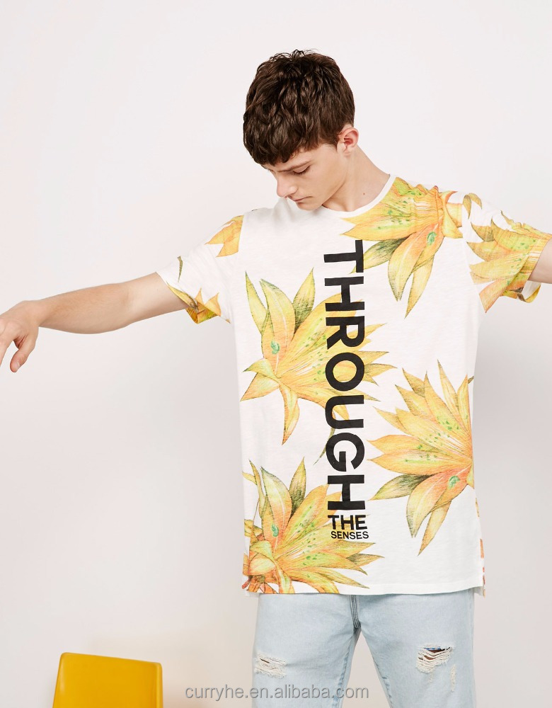 Shaohong OEM high quality low price sublimation o neck short sleeve fashion style flower pattern tshirt manufacturing company