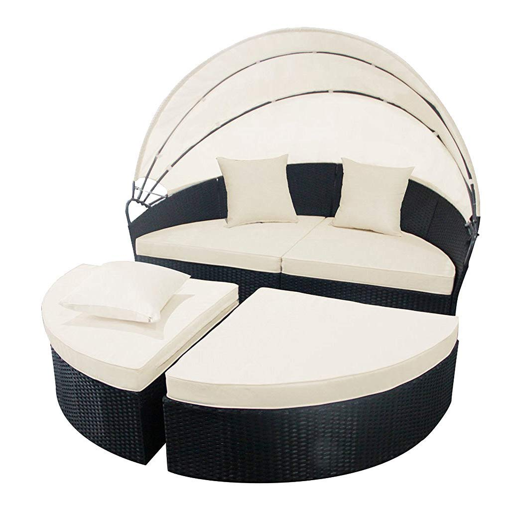 "FurniTure Outdoor Wicker Daybed 4 Piece Patio Rattan Round Wicker Set 65"" Bed Retractable Canopy Sectional Sofa Set, Black Wicker Creamy White Cushions"