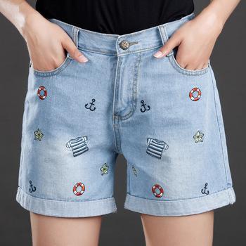 1be04ecc41 Nuevo gran tamaño verano Vaqueros Mujer código Denim Pantalones cortos  Mujer grasa MM diseñador bordado para