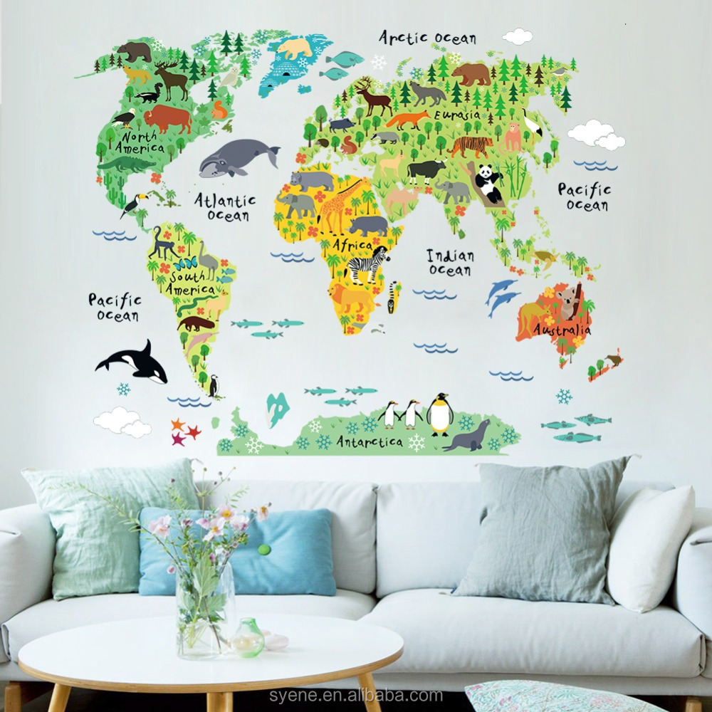 Cartoon wall sticker colourful world map wall stickers decal removable cartoon animation wall stickers for kids room home decor