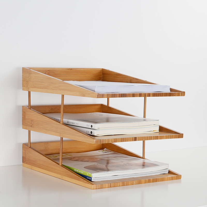 stacking bamboo file tray