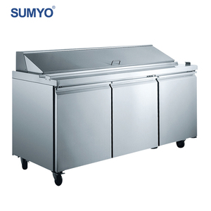 Stainless commercial salad pizza bar counter prep table display fridge refrigerator