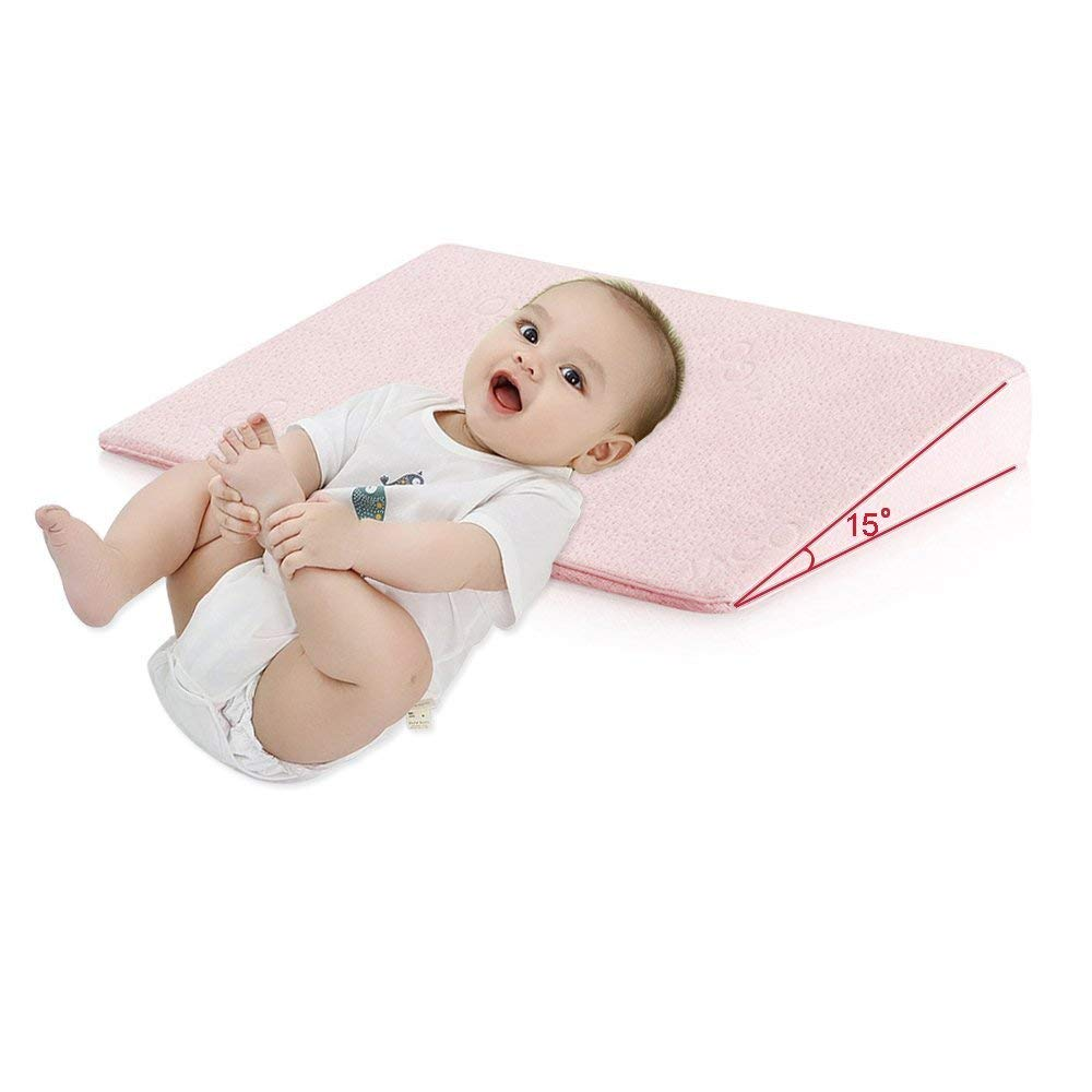 Crib Wedge Pillow for Baby Mattress Universal Memory Foam Sleep Pillow Infant Reflux and Nasal Congestion Relief Sleep Positioner Universal Crib Removable Cover 15-degree Incline