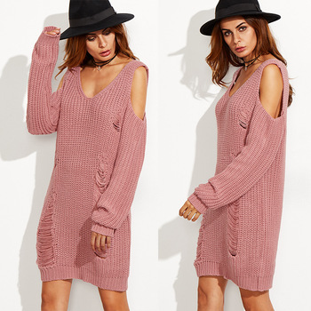 381837e3e99 F10446A european style Amazon hot sale off shoulder knit sweater pullover long  dress sweater for ladies