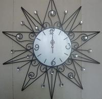 Home Decorative Flower Design European Style Large Quartz Metal Wall Clock