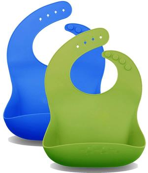 Easily Wipes Clean Comfortable Soft Silicone Funny Baby Bibs With Babies Set of 2 Colors (Lime Green / Turquoise)