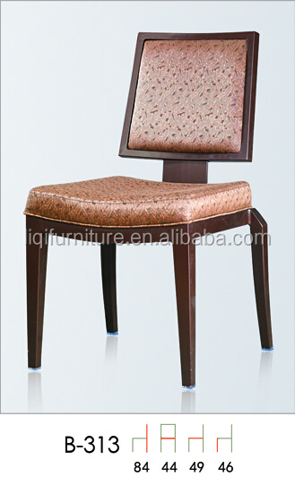 square flex back restaurant chairs with hook in aluminum for hotels restaurant QL-B313