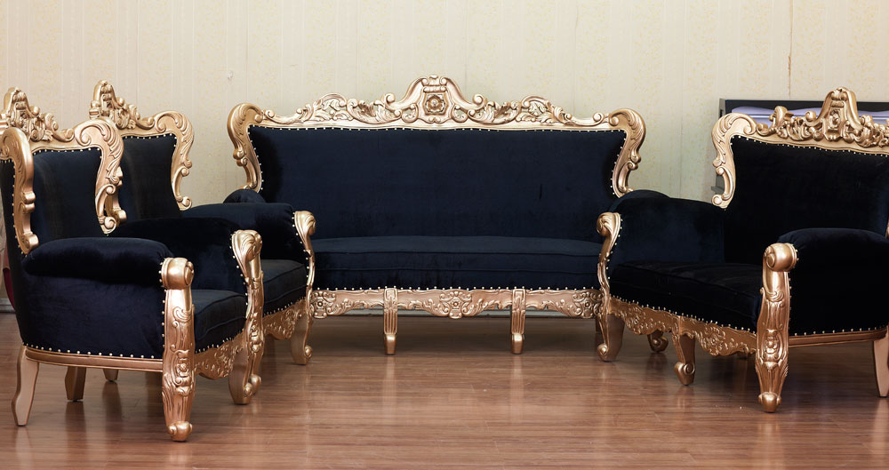Gold And Black Antique Sofa Set - Buy Gold And Black Sofa Set Product on  Alibaba.com