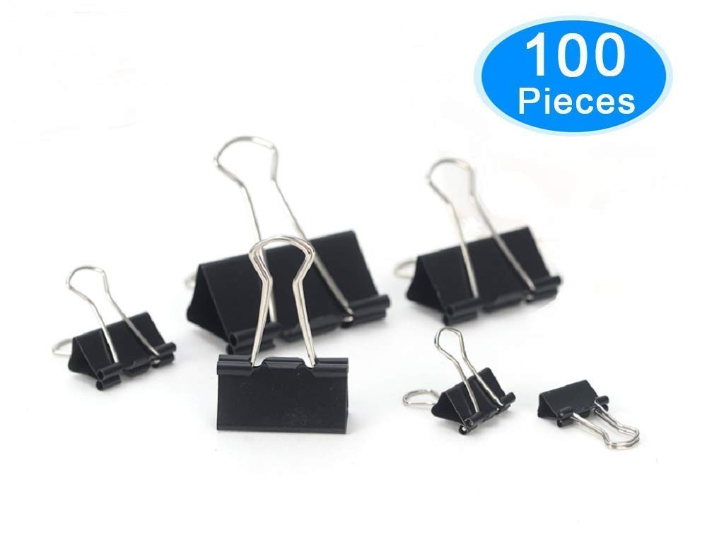 Binder Clips, UDOIT 100 Pcs Paper Clamp Clips Assorted 6 Sizes (Black)
