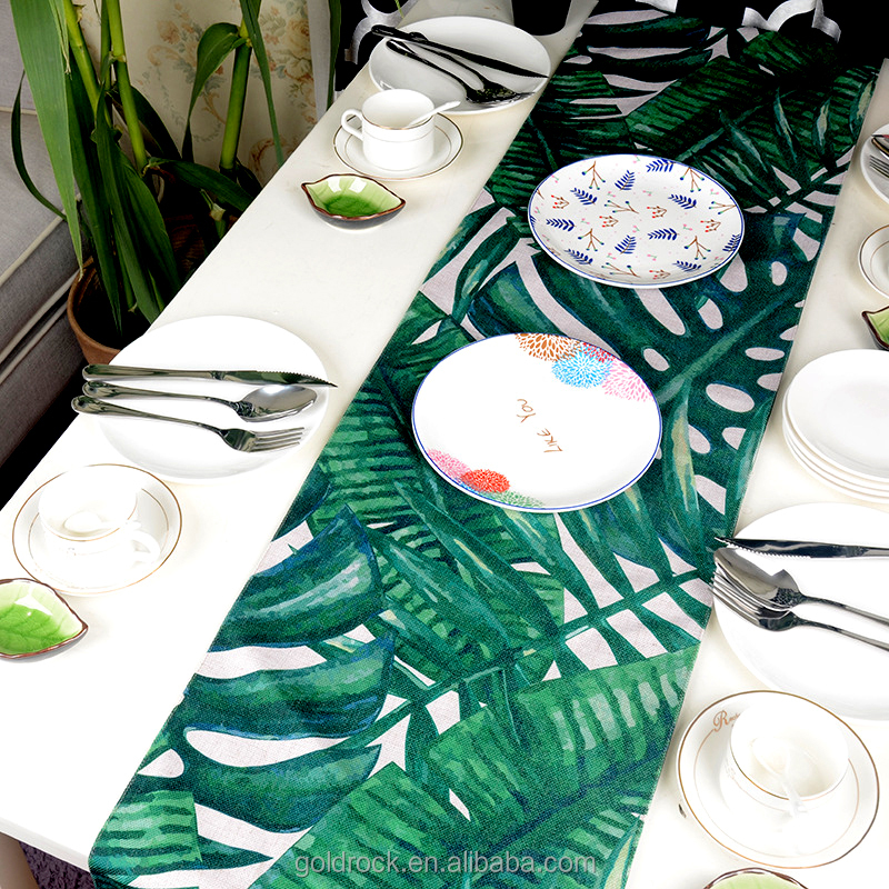 Wholesale custom Decorative table runner Creative Digital printing Cotton and linen green table runner
