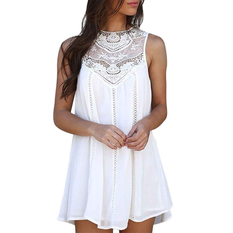 b9c30f3e0f6 Get Quotations · Clearance! Tloowy Women Summer Sleeveless Lace Patchwork  Loose Flowy Mini Chiffon Dress Beach Sundresses