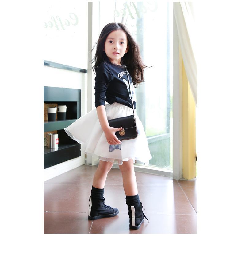 0faf8a10d481c Get Quotations · Kids Clothes 2015 Vetement Enfant Cute Long Sleeve Cat  Print Girls T Shirt+White Gauze
