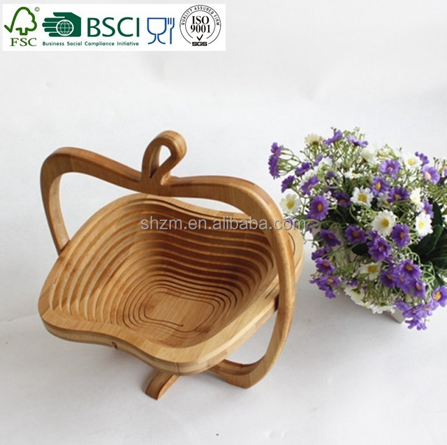 eco-friendly bamboo folding apple shape basket wholesale wooden fruit basket