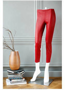 Women Skinny Real Red Leather Pants Leggings