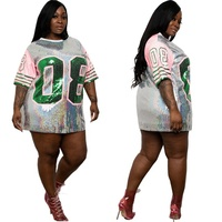 Plus Size Sexy Sequin Printed Tops Fat Summer Casual Clothes Women