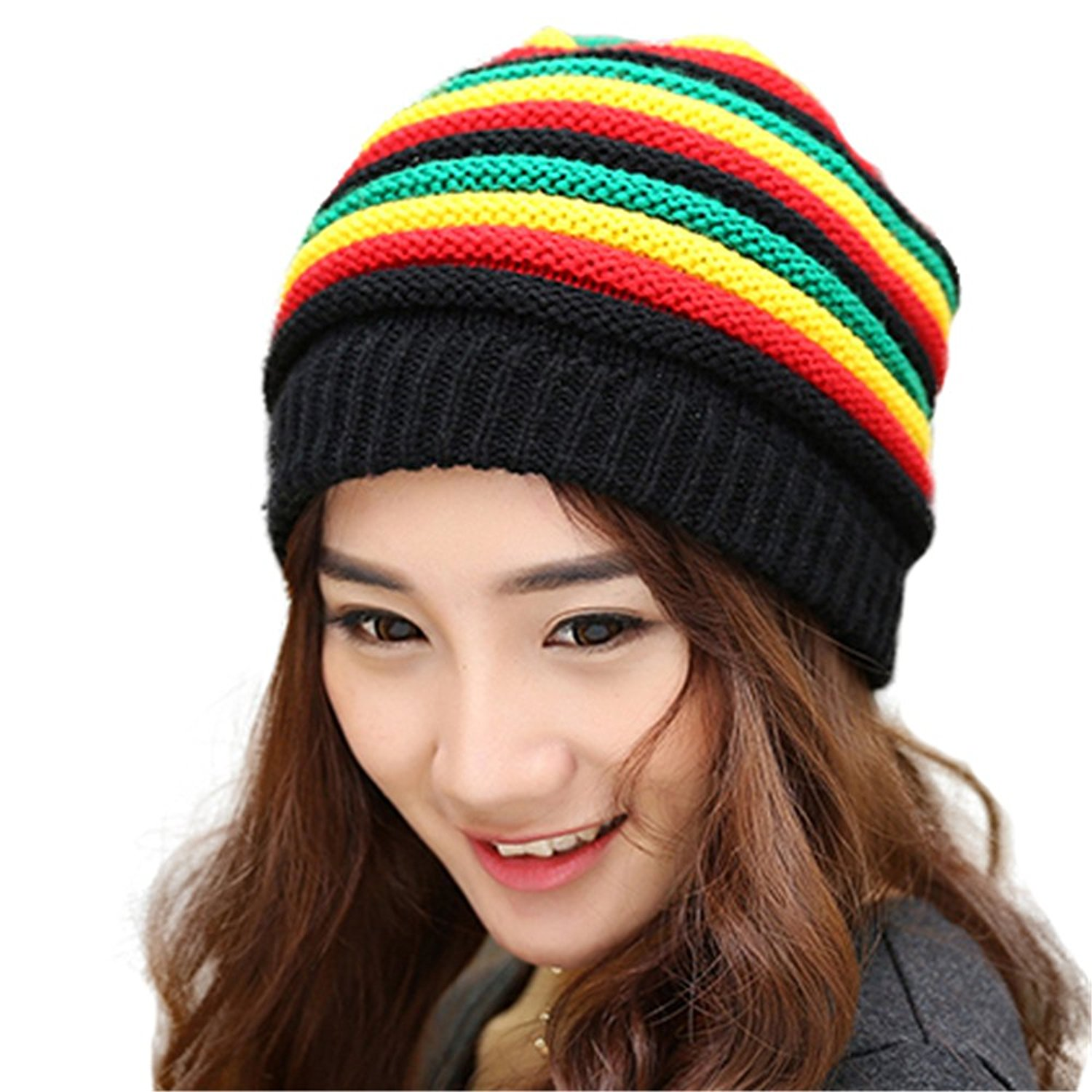 ba9075ea3971 Get Quotations · Beanie Mens Womens Rasta Reggae Cap Hiphop Rap Winter  Oversized Knitted Hat