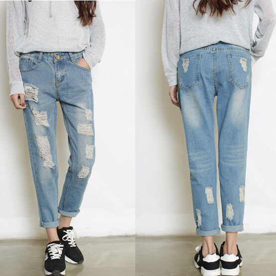 Woman Girl Baggy Ripped BF Style Denim Jeans Blue Color ...