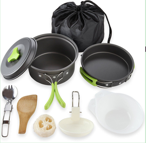 Aluminum non-stick cooking pot cookware set picnic camping mess kit outdoor free cookware set