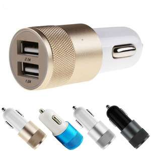 Best Metal Dual USB Port Car Charger Universal 12 Volt / 1 ~ 2 Amp for Apple iPhone iPad iPod / Samsung Galaxy Droid