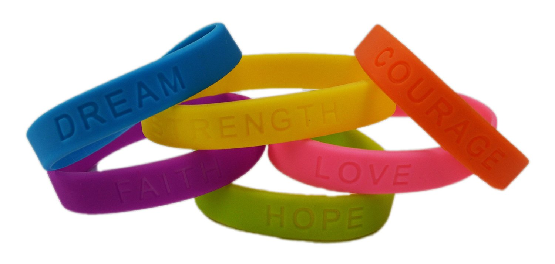 dazzling toys Rubber Bracelets Assorted Colors Inspirational Sayings Bracelets 2 DOZEN | Bracelets Have Messages Dream, Hope, Love, Faith, Courage Strength.
