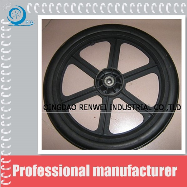 PU flat free tire and wheel assembled with turf tread 20*2.125""