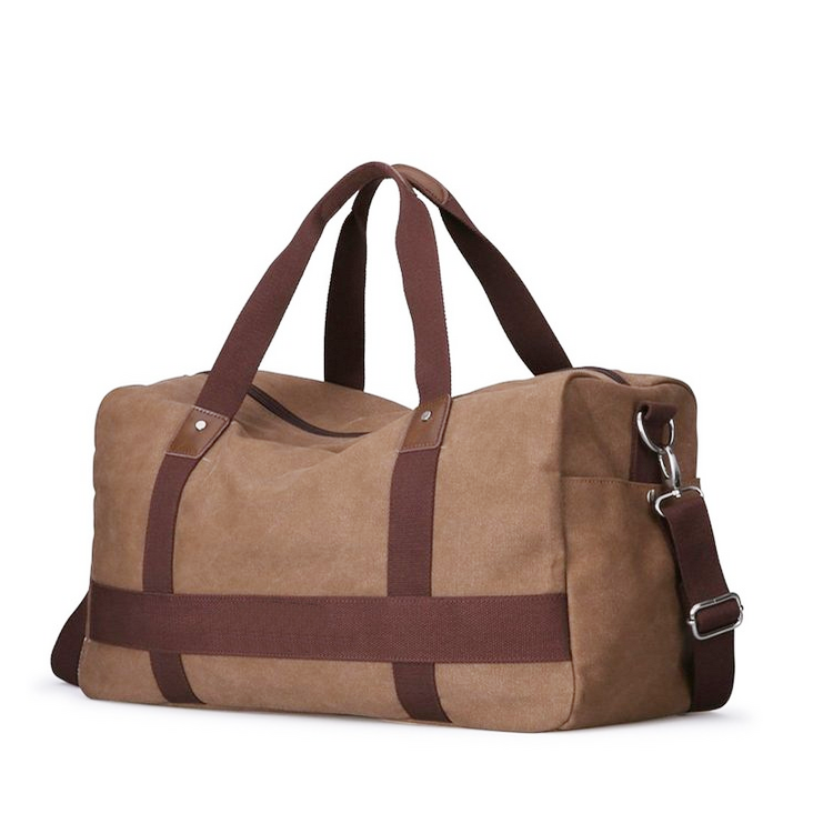 leisure custom oversize unisex camel travel luggage bag canvas cotton duffel tote holdall bag