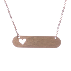 new design blank bar pendant jewelry rose gold dog tag necklaces with hollow out heart