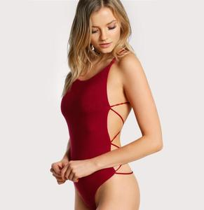 Strappy Backless Sexy Club Bodysuit Women Skinny Cross Back Summer Bodysuits 2018 Burgundy Sleeveless Basic Bodysuit