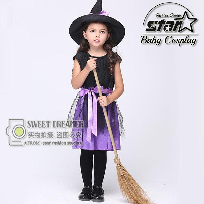 Girls Witch Costume font b Fancy b font font b Children b font Halloween Costume Kids