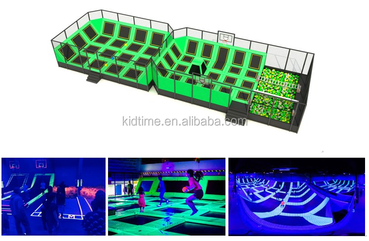 Custom commercial children large indoor trampoline with roof