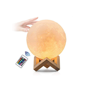 Factory price 15cm two color light 3d print led moon shaped lamp