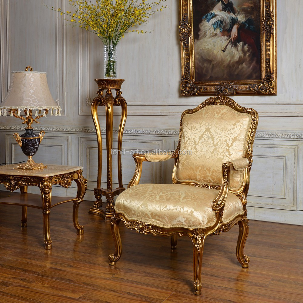 C59 fabric antique sofa gold classic bedroom and living room single sofa chair
