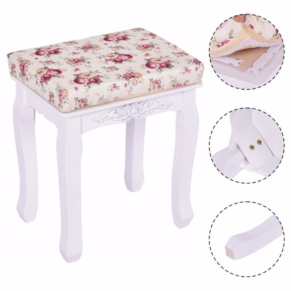 Groovy Us 34 99 Goplus Modern White Vanity Wood Dressing Stool Padded Chair Makeup Ottoman Stools Piano Seat With Cushion New Hb84672 On Aliexpress Andrewgaddart Wooden Chair Designs For Living Room Andrewgaddartcom