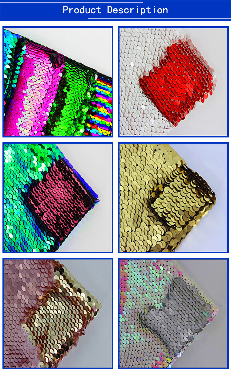 Wholesale 5 mm Two Tone Embroidery Double Sided Sequin Fabric Reversible For Wedding Dress