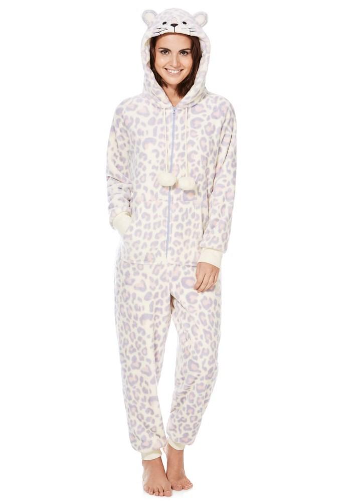 51e062e1f2c3 Snow Leopard Hooded Fleece Adult Animal Onesie - Buy Adult Animal Onesie