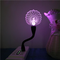 Peacock USB 3D Led Night Light Optical Illusion Lamp 7 Colors Touch Table Desk Visual Lamp for Gifts Toys